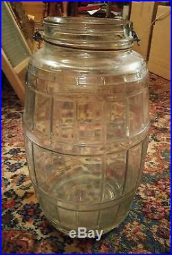 000 Large Clear Glass Barrel Style Wood Handle Pickle Jar 15 Inches Tall