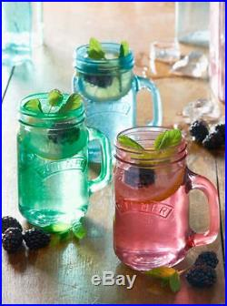 0.4 Litre Kilner Blue Pink Green Clear Beverage Glass Handle Drinking Cups Jars