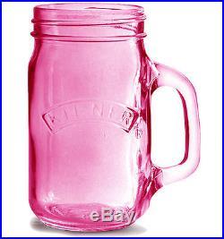 0.4 Litre Kilner Vintage Pink Glass Handle Preserving Storage Drink Beverage Jar