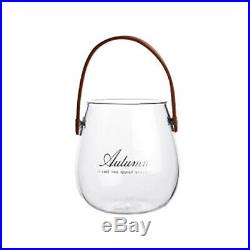 10XUnique Chic Nordic Glass Storage Jar Bottle With Leather Handle Minimal G8Z6
