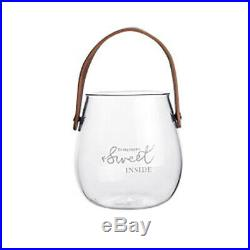 10XUnique Chic Nordic Glass Storage Jar Bottle With Leather Handle Minimal O4K8