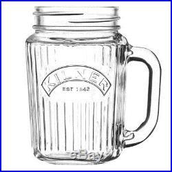 12PK Kilner Handled Mason Jar Vintage Drinking Glasses 400ml Glassware/Barware