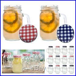 12 Mason Jar Handle Mug Rustic Bridal Wedding Drinking Clear Glass Smoothie 20oz