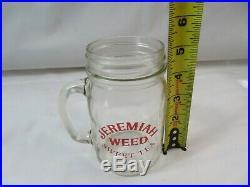 12 NEW Jeremiah Weed Sweet Tea Mason Jar Glass Mugs handle Red Logo Bar MAN CAVE
