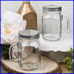 12 Ounce Perfectly Plain Glass Mason Jar with Handle from PartyFairyBox