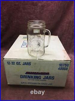 12 Vintage Golden Harvest Drinking Jar Clear Glass Mugs with Handle 16oz NOS