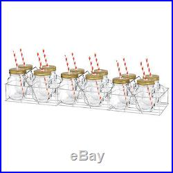 12pc Avanti Mason Jar/Handle withStrawithStainless Cary Rack/400ml/Vintage/Mug/Glass