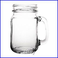 12x Olympia Handled Jam Jar Glasses 16oz 450ml Cocktail Beer Drinking Mugs