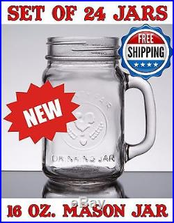 16 oz classic drinking mason glass jar with handle lot of 24 24