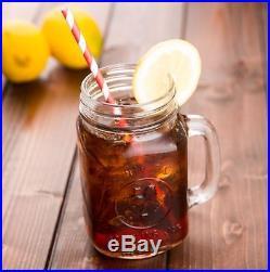 16 oz. Drinking Mason Glass Jar with Handle Bridal Wedding Boba Tea, 24/LOT, BULK