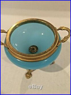 1850's- French Seafoam Blue Trinket Jar, Gorgeous Double Handle. Look, Read