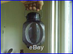 1880s SUNKEN EYE PANELS AMETHYST GLASS CANDY JAR WITH GLASS LID &HANDLE NICE