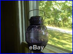 1890 AMETHYST MOON PATTERN CANDY JAR WithORIGINAL GLASS LID & CARRYING HANDLE