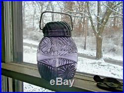 1890s AMETHYST SUN & MOON PATTERN CANDY JAR ORIGINAL GLASS LID & CARRYING HANDLE