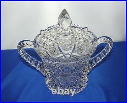 1908 Elegant CAMBRIDGE Glass Wheat Sheaf 2 Handle Cracker Cookie Jar w Lid EAPG