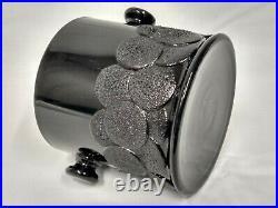 1930's 1681 Fenton BLACK Ebony Art Glass 2 Handled Big Cookies MACAROON JAR