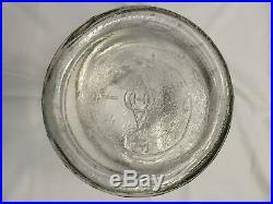 1935 Antique DURAGLASS glass PICKLE JAR barrel BAIL lid WOOD HANDLE