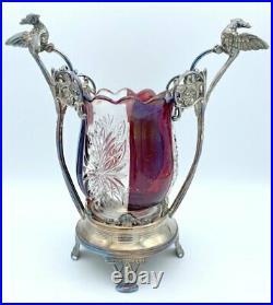 19th. C Cut Glass Jam Jar w Phoenix Handle & Cranberry Glass Panes