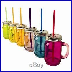 1-24 Colour Mason Glass Drinking Jars Vintage Screw Cap & Straw Handle Retro Sun