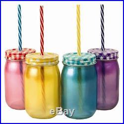 1-24 Coloured Jam Glass Drinking Jars Vintage Screw Cap & Straw Handle Retro Jar