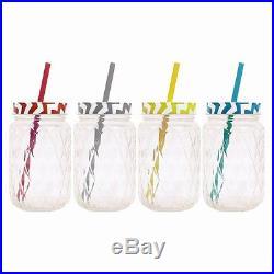 1-24 Zig Zag Jam Glass Drinking Jars Vintage Screw Cap & Straw Handle Retro Jar
