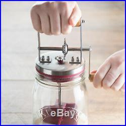 1 Ltr Vintage Kilner Butter Maker Churner Churn Wooden Handle Glass Storage Jar