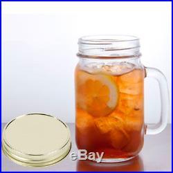 1 Mason Jar With Handle Lid Mug Rustic Bridal Wedding Drinking Glass Clear 16oz