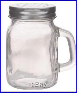 1 pot Glass for Salt or Pepper Shaker Jars with Handles and Metal Lids 3x2x3-3/8