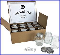 24 Mason Jar 4oz Mugs with Handles, Glass, Leak Proof Lids, Drinks Crafts Gifts