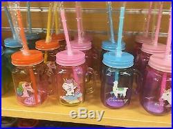 24 Mason Jar Mugs with Handle Tin Lid and Plastic Straws 15 Oz Each (UNICORN)