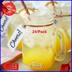 (24/Pack) 16 Oz. Glass Mason Jars / Drinking Jars with Handle FREE SHIPPING USA