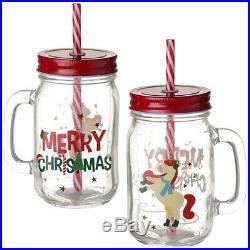 24 x Fun Christmas Mason Drinking Jar Unicorn Glass Lid Handle Party Cocktail