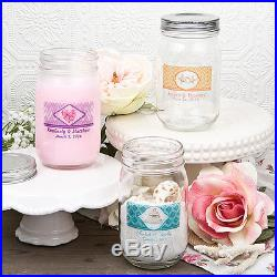 25 12 oz Personalized Glass Mason Jar w Handle & Screw Top Free US Shipping