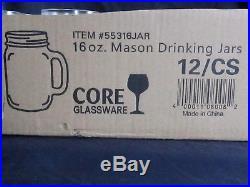 26 NEW Core 16 oz. Clear Glass Mason Jar / Drinking Jar with Handle! Wedding