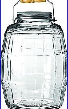 2.5 Gal Barrel Glass Jar with Aluminum Metal Lid Wood Handle Cookies Coffee Beans