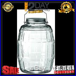 2.5 Gallon Glass Barrel Jar WithLid Vintage Pickle Canister Large Handle Clear Lid