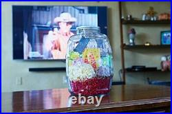 2.5 Gallon Glass Barrel Jar With Lid Vintage Pickle Canister Large Handle Clear