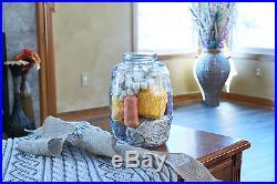 2.5 Gallon Glass Barrel Jar withLid Vintage Pickle Canister Large Handle Clear