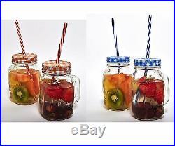 2 6 X Clear Glass Mason Jars Drinking Summer Cocktail Jar Handle & Straw 450ml
