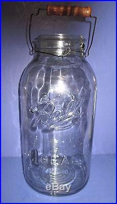 2 Gallon Vintage Clear Glass Ball Ideal Canning Jar With Wood Handle