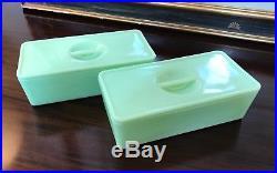 2 Jeannette Jadeite Jadite Green 8.5 X 4 Recessed Handle Fridge Dish Jars