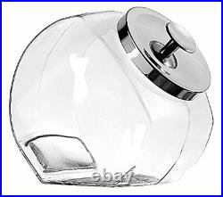 2 SET Penny Candy Glass Jar Storage Container with Lid Chrome 1-Gallon USA