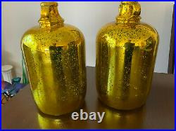2 VNT Gold Painted Mercury Glass Jug Jar vase bottle Diamond Star Corp 1.5 Gal