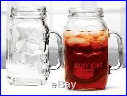 2-Yorkshire Glass Mason Jar Drinking Mugs Jars Glasses Handles Pair Large 38Oz