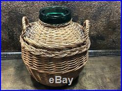 31665 Vintage Large VIRESA Green Glass Bottle / Jar w Handled Wicker Cover