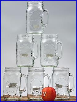 32oz Country Style Clear Glass Mason Drinking Jar Mugs With Handle (Set Of 6)