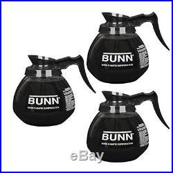 3 Jars Glass Coffee Pot Decanter BUNN 12 Cup Black Handle Replacement Commercial
