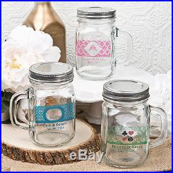 40 -12 oz Personalized Glass Mason Jar with Handle and Silver Metal Screw Top