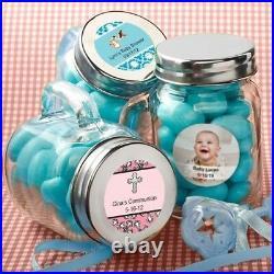 40 Personalized Themed Mini Glass Mason Candy Jars Wedding Bridal Shower Favors