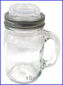 44651 Mason Jar Coffee Mug Glass Travel Goblet With Lid